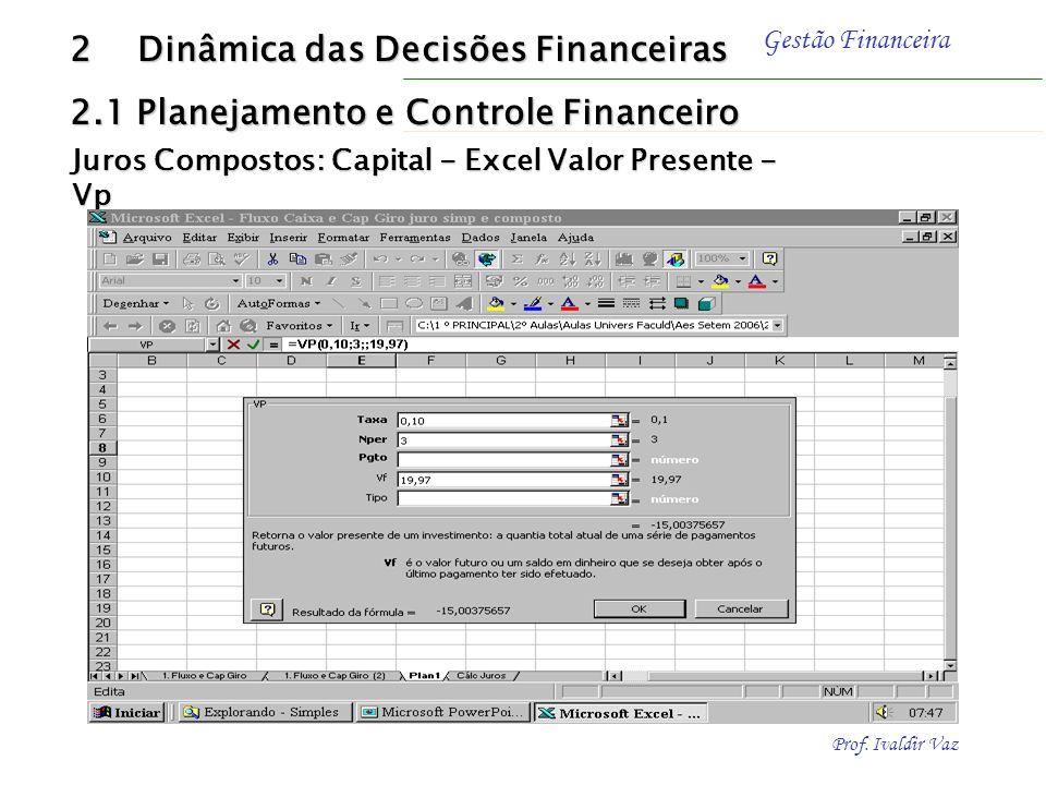Prof. Ivaldir Vaz Gestão Financeira Exemplo - Solução: Utilizando FJVP Determinar o valor presente (PV) de um montante (FV) de R$ 19,96 efetuada pelo