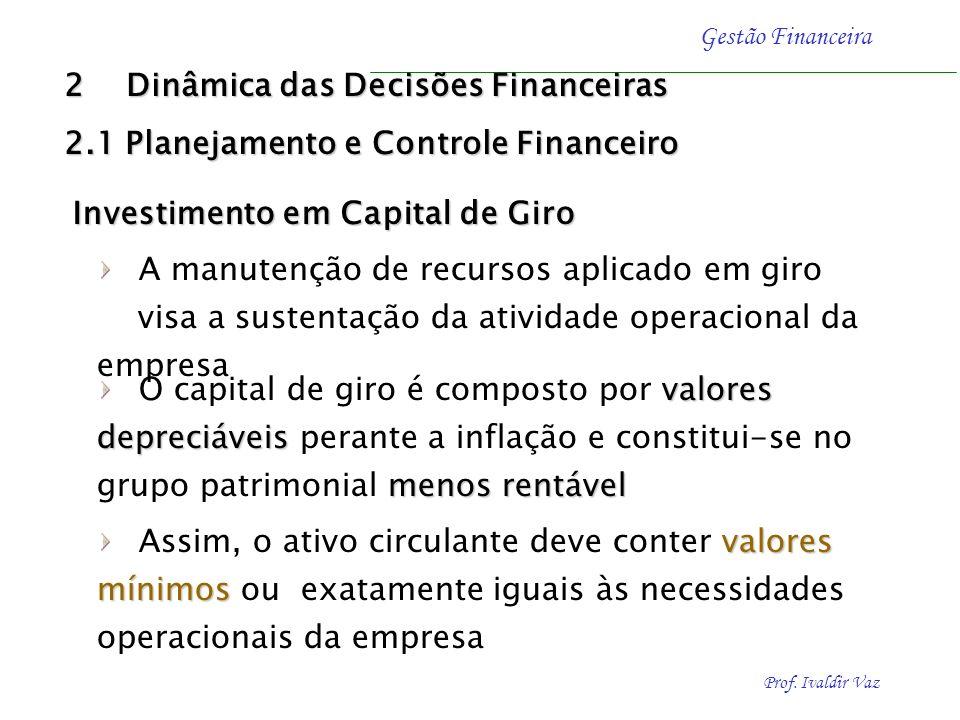 Prof. Ivaldir Vaz Gestão Financeira Características do Capital de Giro em Economias com Inflação Economias estáveis: Economias estáveis: A manutenção