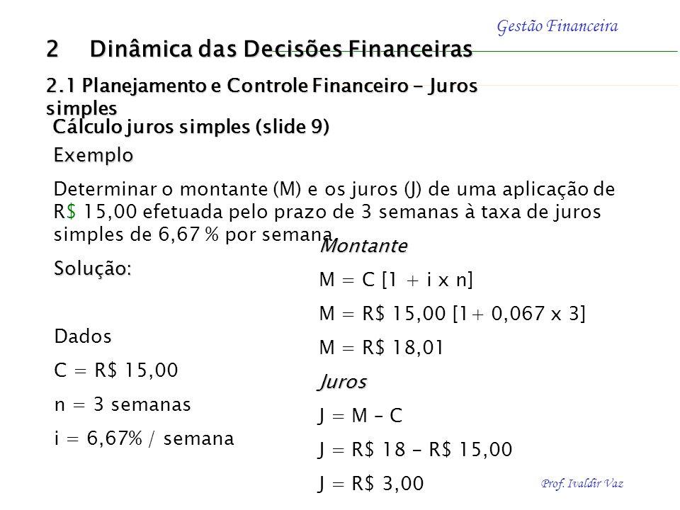 Prof. Ivaldir Vaz Gestão Financeira 2 Dinâmica das Decisões Financeiras 2.1 Planejamento e Controle Financeiro - Juros simples Capital de Giro - juros