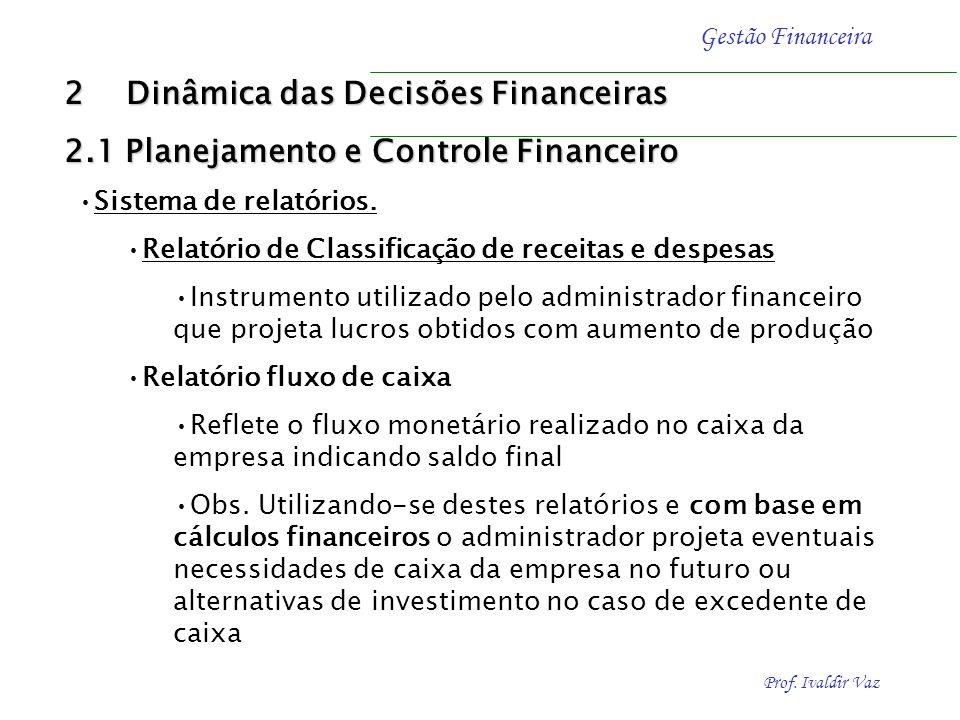 Prof. Ivaldir Vaz Gestão Financeira Política empresarial a curto e longo prazo Necessário ter visão ampla de todas operações da empresa, como expansão