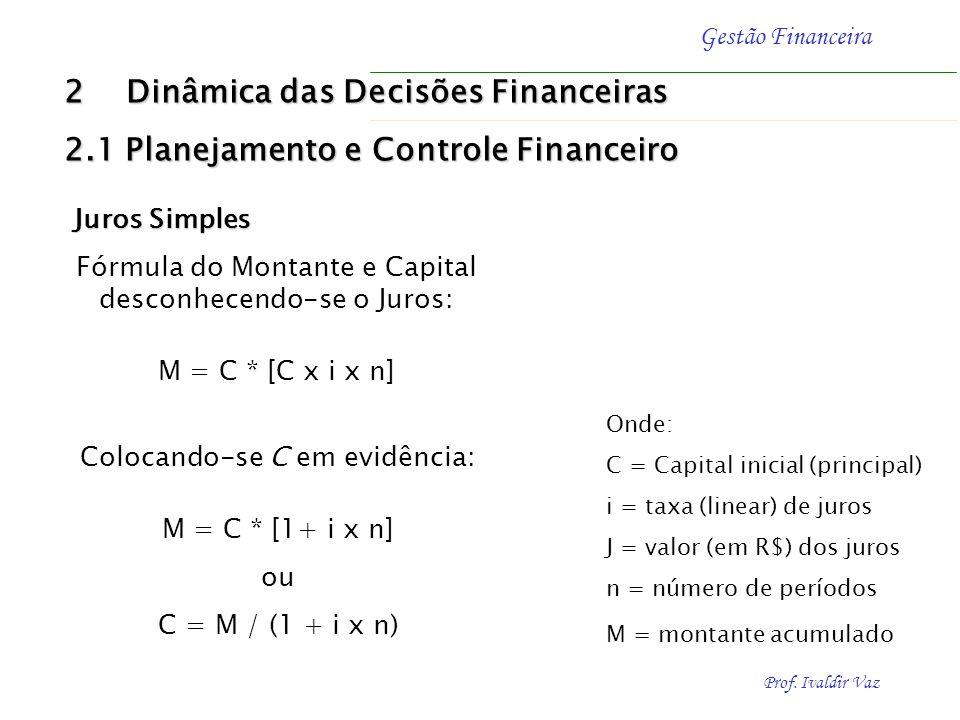 Prof. Ivaldir Vaz Gestão Financeira Fórmula do Montante (M): M = C + J Juros Simples Fórmula dos Juros (J): J = C x i x n Onde: C = Capital inicial (p