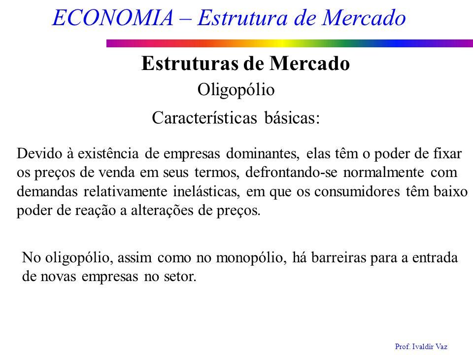Prof. Ivaldir Vaz ECONOMIA – Estrutura de Mercado 10 Estruturas de Mercado Oligopólio Características básicas: Devido à existência de empresas dominan
