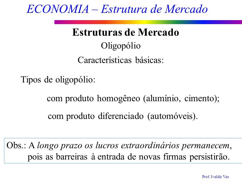Prof. Ivaldir Vaz ECONOMIA – Estrutura de Mercado 11 Estruturas de Mercado Oligopólio Características básicas: Tipos de oligopólio: com produto homogê