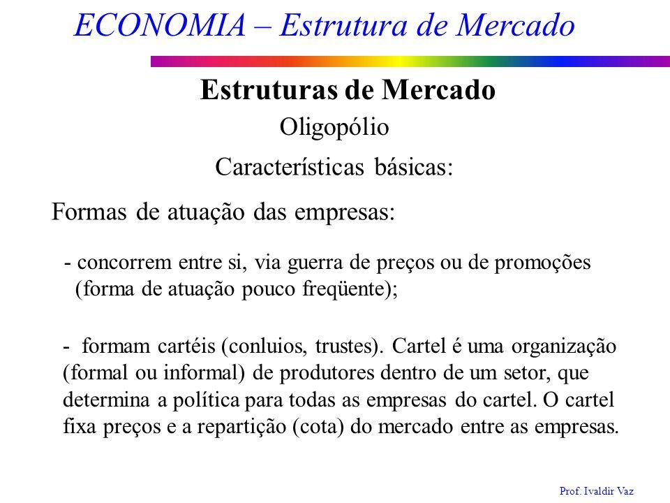 Prof. Ivaldir Vaz ECONOMIA – Estrutura de Mercado 12 Estruturas de Mercado Oligopólio Características básicas: Formas de atuação das empresas: - conco