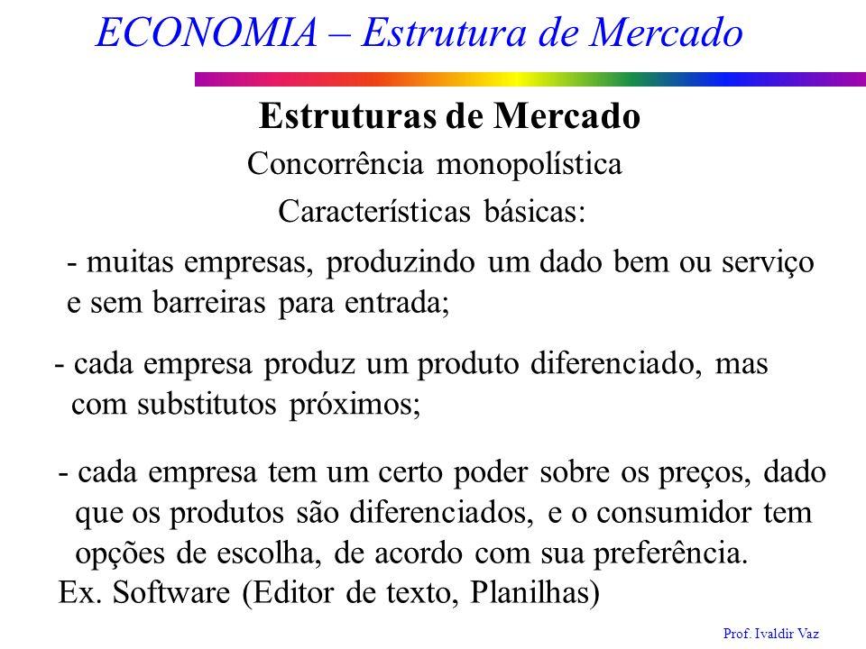 Prof. Ivaldir Vaz ECONOMIA – Estrutura de Mercado 13 Estruturas de Mercado Concorrência monopolística Características básicas: - muitas empresas, prod