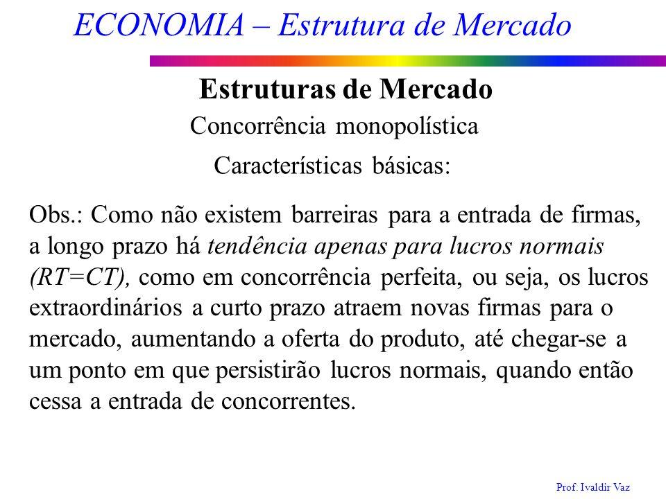 Prof. Ivaldir Vaz ECONOMIA – Estrutura de Mercado 14 Estruturas de Mercado Concorrência monopolística Características básicas: Obs.: Como não existem