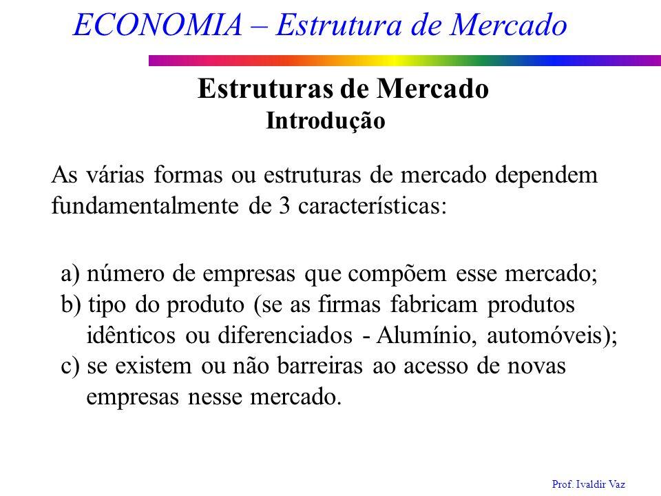 Prof. Ivaldir Vaz ECONOMIA – Estrutura de Mercado 2 Estruturas de Mercado Introdução As várias formas ou estruturas de mercado dependem fundamentalmen