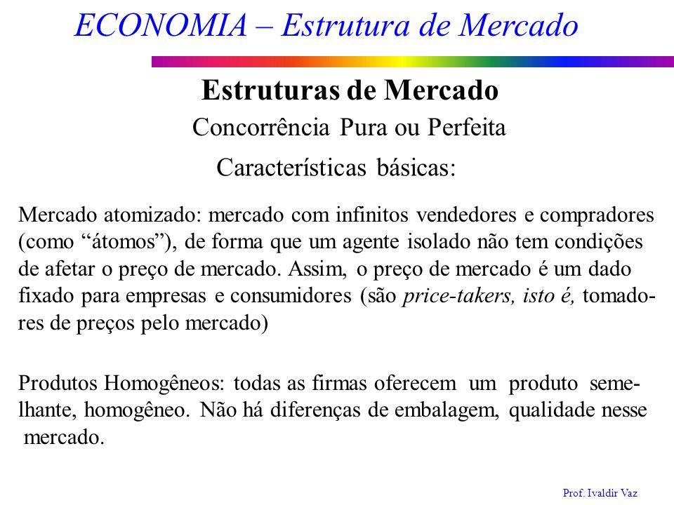Prof. Ivaldir Vaz ECONOMIA – Estrutura de Mercado 3 Estruturas de Mercado Concorrência Pura ou Perfeita Mercado atomizado: mercado com infinitos vende