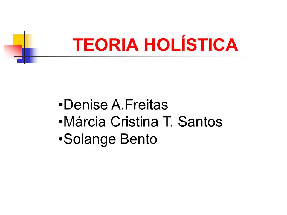01 TEORIA HOLÍSTICA Denise A.Freitas Márcia Cristina T. Santos Solange Bento