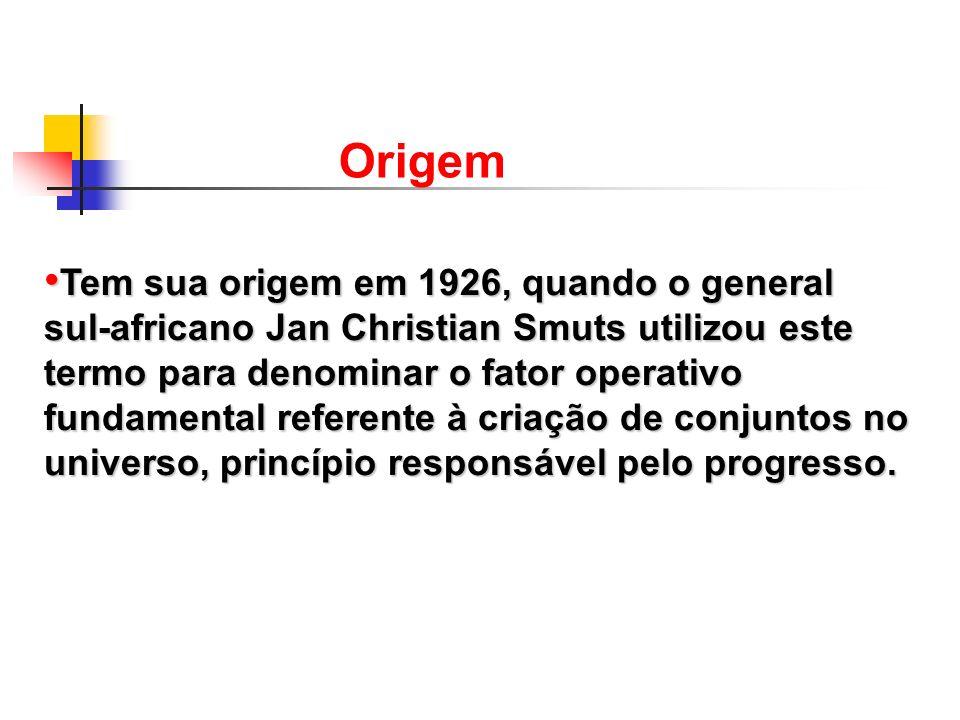 Tem sua origem em 1926, quando o general sul-africano Jan Christian Smuts utilizou este termo para denominar o fator operativo fundamental referente à