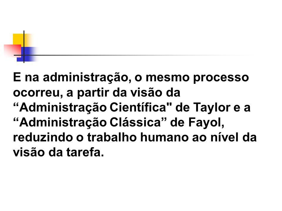 E na administração, o mesmo processo ocorreu, a partir da visão da Administração Científica