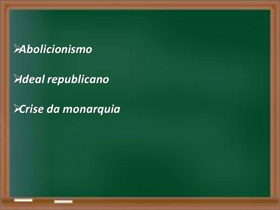Abolicionismo Abolicionismo Ideal republicano Ideal republicano Crise da monarquia Crise da monarquia