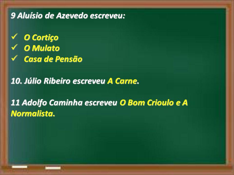9 Aluísio de Azevedo escreveu: O Cortiço O Cortiço O Mulato O Mulato Casa de Pensão Casa de Pensão 10. Júlio Ribeiro escreveu A Carne. 11 Adolfo Camin