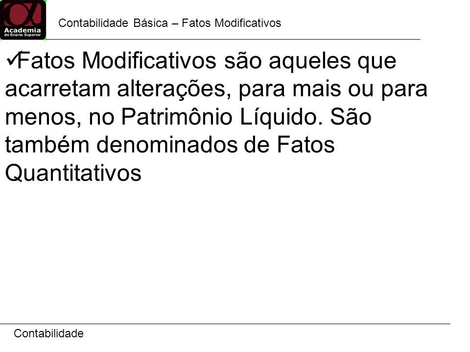 Contabilidade Contabilidade Básica – Fatos Modificativos Fatos Modificativos são aqueles que acarretam alterações, para mais ou para menos, no Patrimô