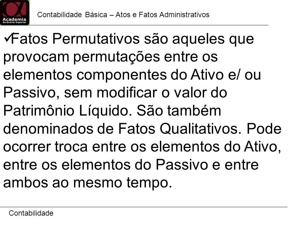 Contabilidade Contabilidade Básica – Permutação entre elementos do Ativo ATIVO PASSIVO Bens Caixa...........................