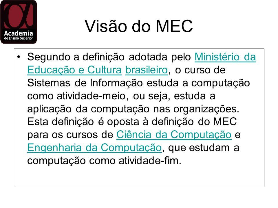 Visão do MEC Segundo a definição adotada pelo Ministério da Educação e Cultura brasileiro, o curso de Sistemas de Informação estuda a computação como