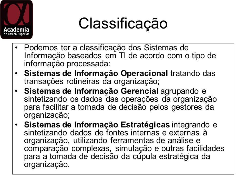 Classificação Podemos ter a classificação dos Sistemas de Informação baseados em TI de acordo com o tipo de informação processada: Sistemas de Informa