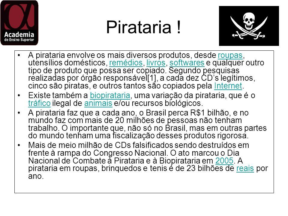 Pirataria ! A pirataria envolve os mais diversos produtos, desde roupas, utensílios domésticos, remédios, livros, softwares e qualquer outro tipo de p