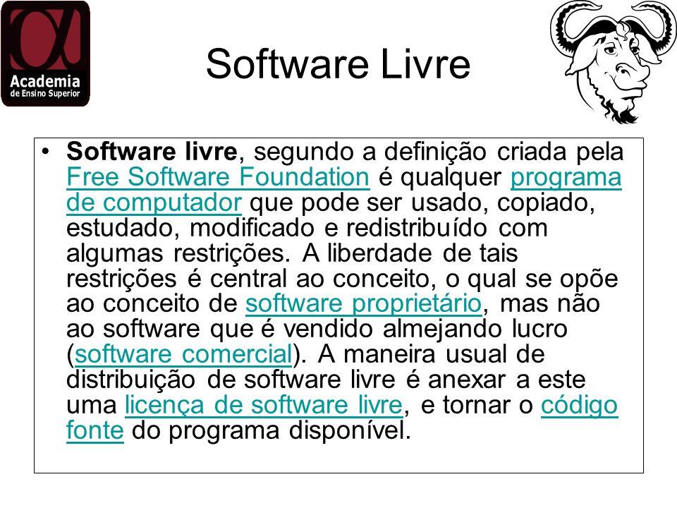 Software Livre Software livre, segundo a definição criada pela Free Software Foundation é qualquer programa de computador que pode ser usado, copiado,