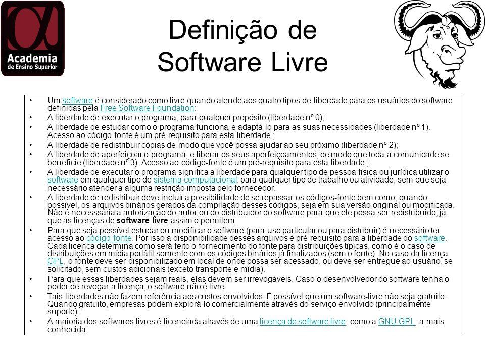 Definição de Software Livre Um software é considerado como livre quando atende aos quatro tipos de liberdade para os usuários do software definidas pe