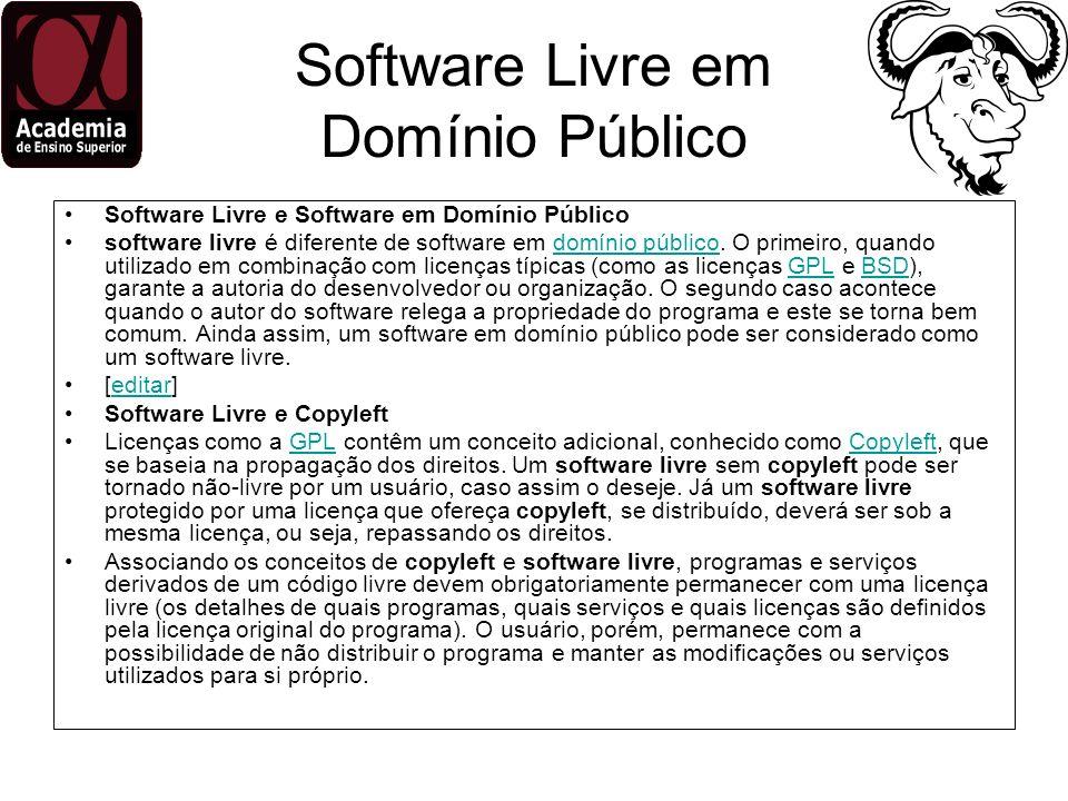 Software Livre em Domínio Público Software Livre e Software em Domínio Público software livre é diferente de software em domínio público. O primeiro,
