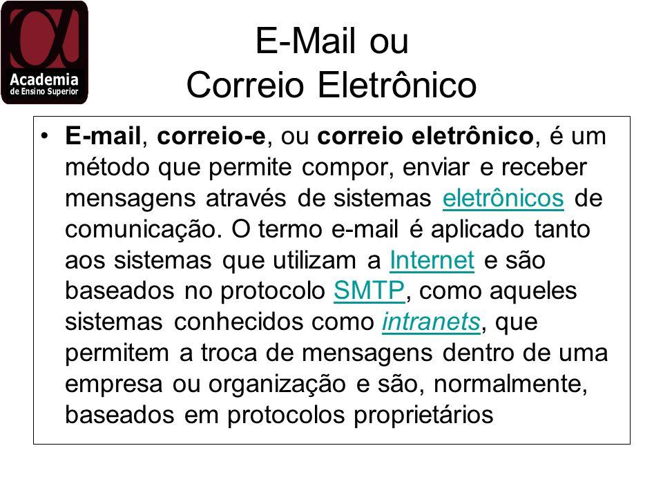 E-Mail ou Correio Eletrônico E-mail, correio-e, ou correio eletrônico, é um método que permite compor, enviar e receber mensagens através de sistemas