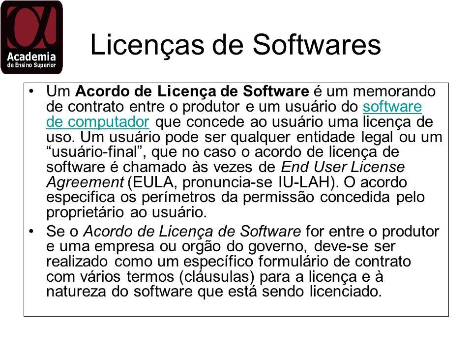 Licenças de Softwares Um Acordo de Licença de Software é um memorando de contrato entre o produtor e um usuário do software de computador que concede