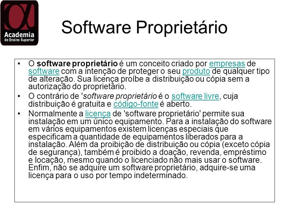Software Proprietário O software proprietário é um conceito criado por empresas de software com a intenção de proteger o seu produto de qualquer tipo