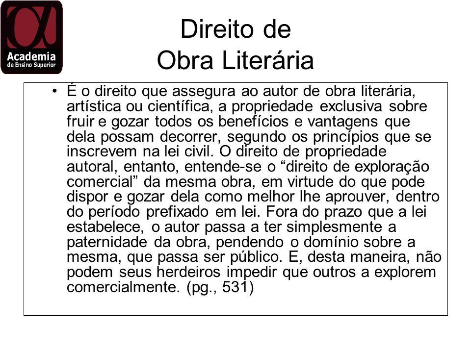 Direito de Obra Literária É o direito que assegura ao autor de obra literária, artística ou científica, a propriedade exclusiva sobre fruir e gozar to