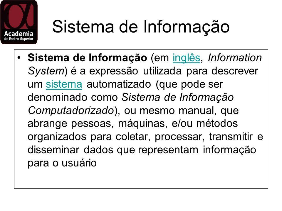Outras Definições para Sistema de Informação Além disso, o termo também é utilizado para descrever a área de conhecimento encarregada do estudo de Sistemas de Informação, Tecnologia da Informação e suas relações com as organizações.