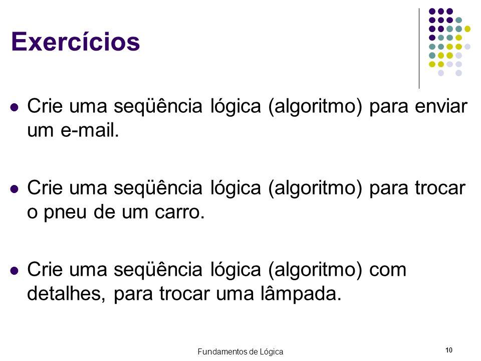 Fundamentos de Lógica 10 Exercícios Crie uma seqüência lógica (algoritmo) para enviar um e-mail. Crie uma seqüência lógica (algoritmo) para trocar o p