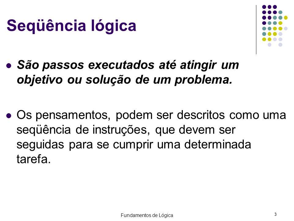 Fundamentos de Lógica 3 Seqüência lógica São passos executados até atingir um objetivo ou solução de um problema. Os pensamentos, podem ser descritos