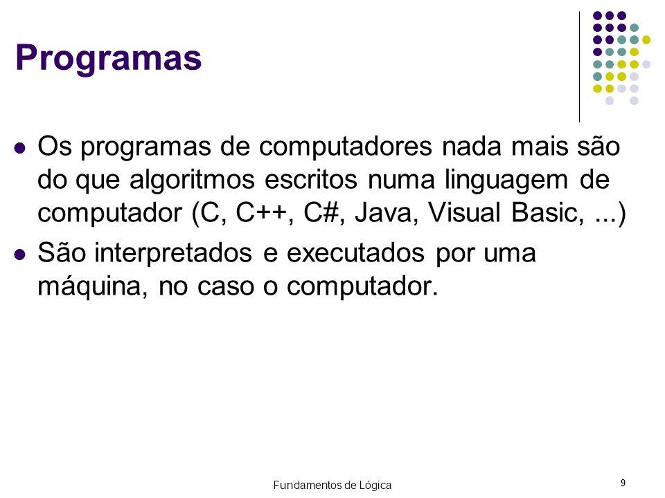 Fundamentos de Lógica 9 Programas Os programas de computadores nada mais são do que algoritmos escritos numa linguagem de computador (C, C++, C#, Java