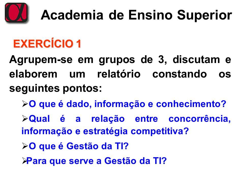 Academia de Ensino Superior EXERCÍCIO 1 Agrupem-se em grupos de 3, discutam e elaborem um relatório constando os seguintes pontos: O que é dado, infor