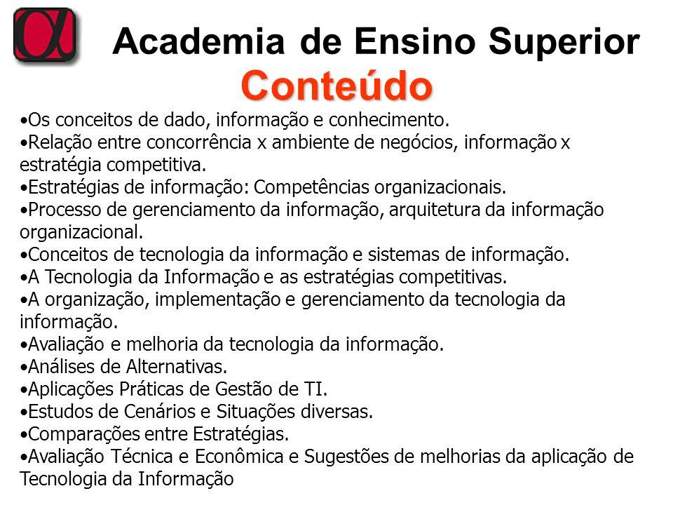 Academia de Ensino Superior Conteúdo Os conceitos de dado, informação e conhecimento. Relação entre concorrência x ambiente de negócios, informação x