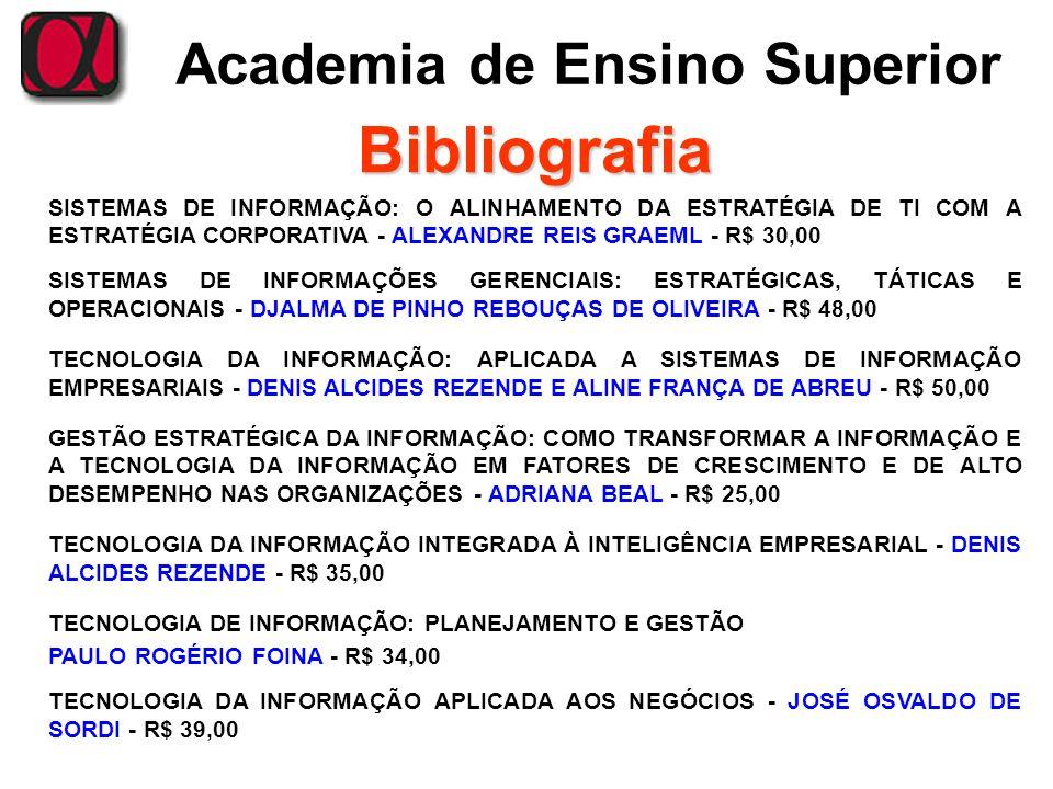 Academia de Ensino Superior Bibliografia SISTEMAS DE INFORMAÇÃO: O ALINHAMENTO DA ESTRATÉGIA DE TI COM A ESTRATÉGIA CORPORATIVA - ALEXANDRE REIS GRAEM