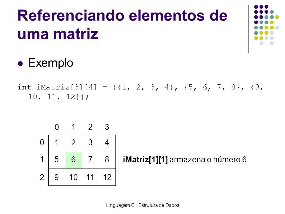 Linguagem C - Estrutura de Dados Referenciando elementos de uma matriz Exemplo int iMatriz[3][4] = {{1, 2, 3, 4}, {5, 6, 7, 8}, {9, 10, 11, 12}}; 0 03