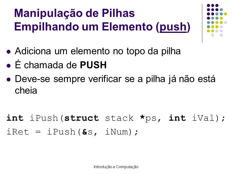 Introdução a Computação Manipulação de Pilhas Empilhando um Elemento (push) Adiciona um elemento no topo da pilha É chamada de PUSH Deve-se sempre ver