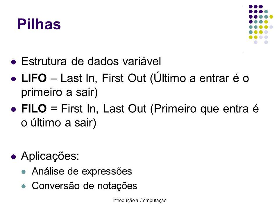 Introdução a Computação Pilhas Estrutura de dados variável LIFO – Last In, First Out (Último a entrar é o primeiro a sair) FILO = First In, Last Out (