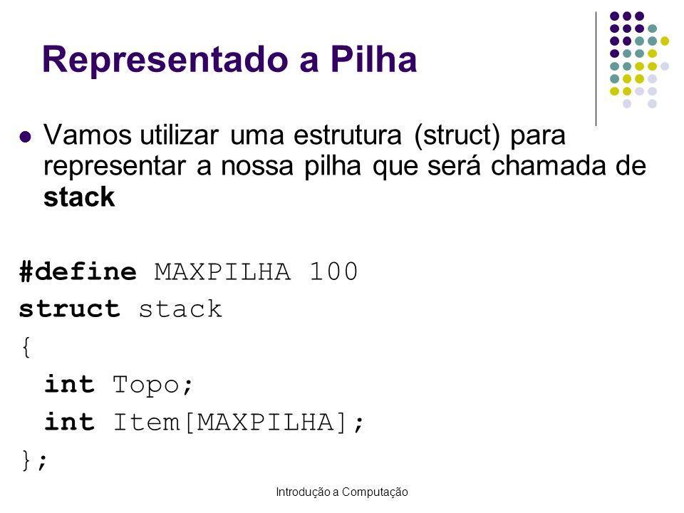 Introdução a Computação Representado a Pilha Vamos utilizar uma estrutura (struct) para representar a nossa pilha que será chamada de stack #define MA