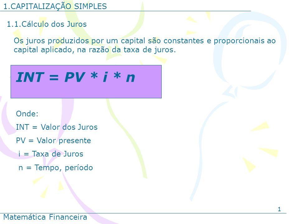 1 1.CAPITALIZAÇÃO SIMPLES Matemática Financeira 1.1.Cálculo dos Juros Os juros produzidos por um capital são constantes e proporcionais ao capital apl