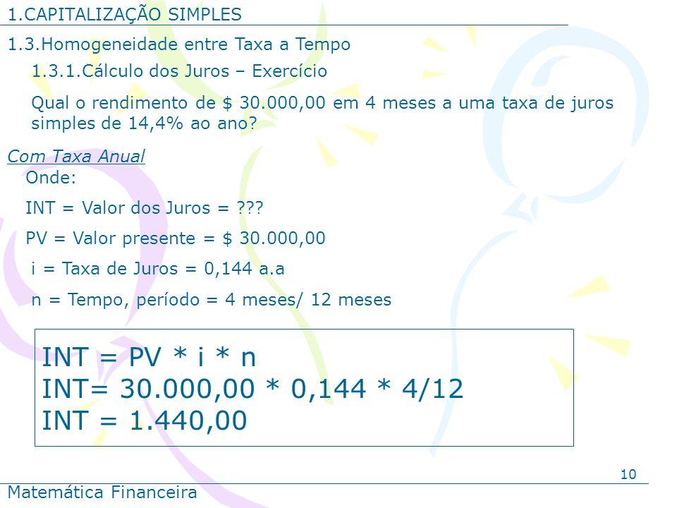 10 1.CAPITALIZAÇÃO SIMPLES Matemática Financeira Qual o rendimento de $ 30.000,00 em 4 meses a uma taxa de juros simples de 14,4% ao ano? Onde: INT =