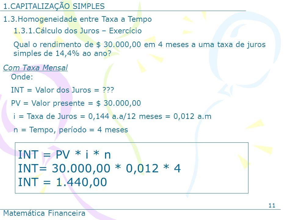 11 1.CAPITALIZAÇÃO SIMPLES Matemática Financeira Qual o rendimento de $ 30.000,00 em 4 meses a uma taxa de juros simples de 14,4% ao ano? Onde: INT =