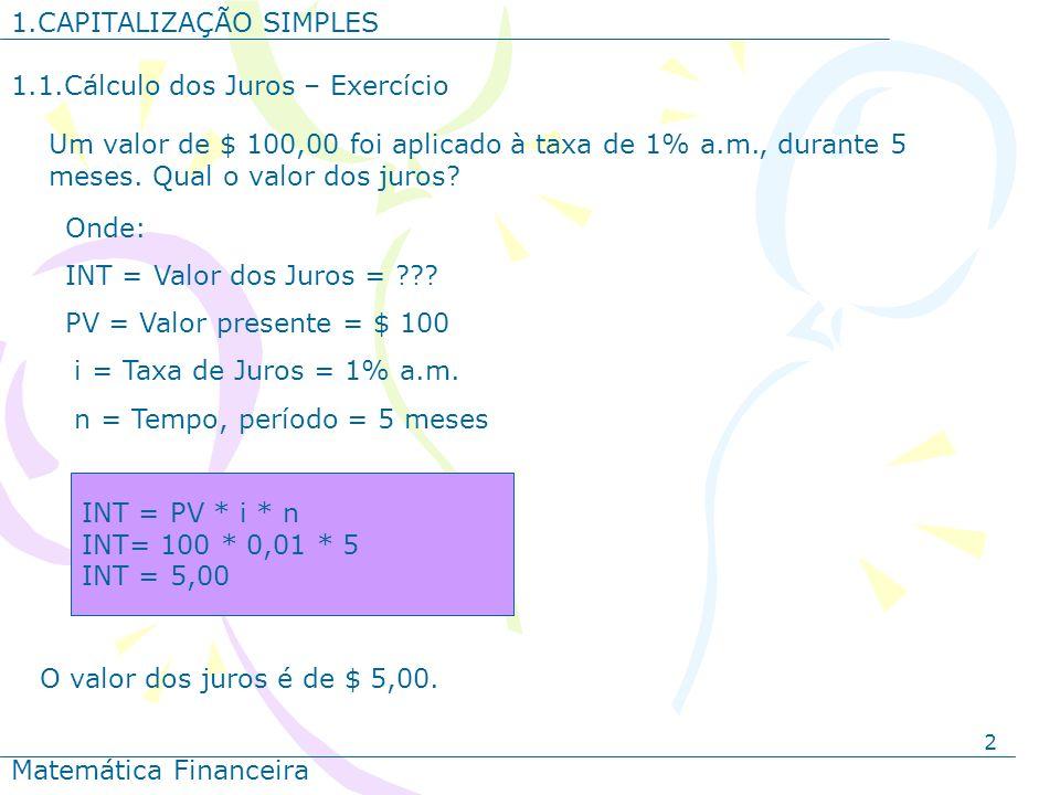 2 1.CAPITALIZAÇÃO SIMPLES Matemática Financeira Um valor de $ 100,00 foi aplicado à taxa de 1% a.m., durante 5 meses. Qual o valor dos juros? Onde: IN