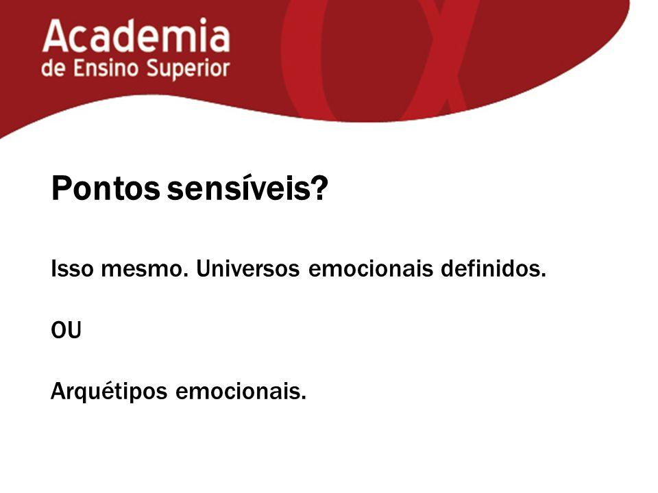 Pontos sensíveis? Isso mesmo. Universos emocionais definidos. OU Arquétipos emocionais.