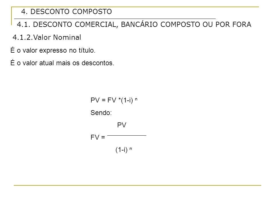 4. DESCONTO COMPOSTO 4.1.2.Valor Nominal É o valor expresso no título. É o valor atual mais os descontos. PV = FV *(1-i) Sendo: PV FV = (1-i) 4.1. DES