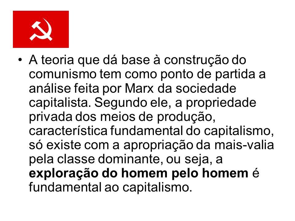 A teoria que dá base à construção do comunismo tem como ponto de partida a análise feita por Marx da sociedade capitalista. Segundo ele, a propriedade