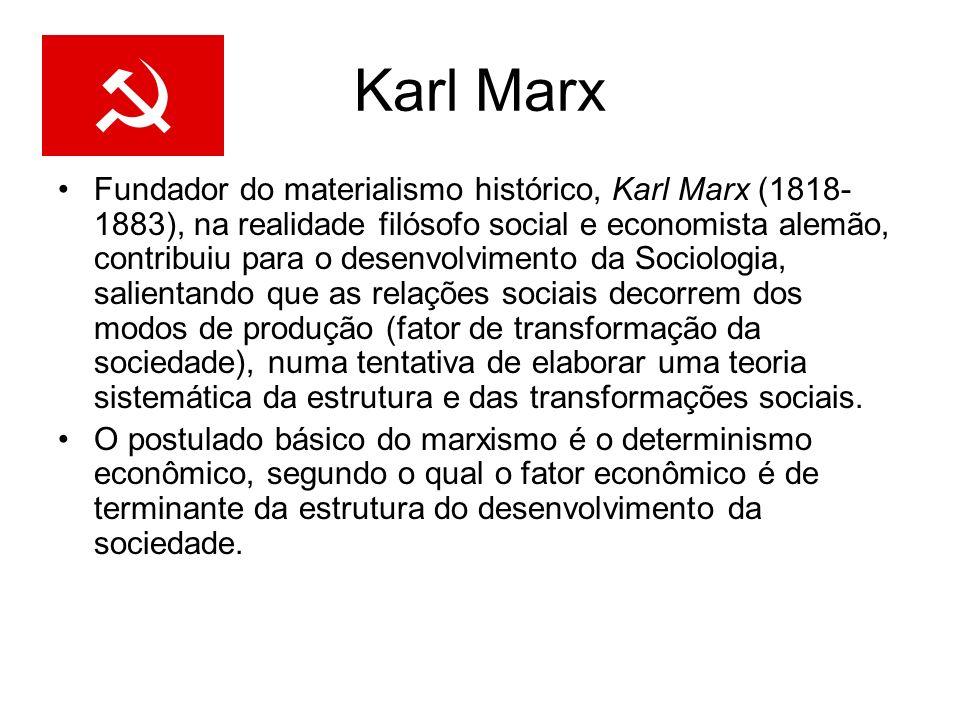 Karl Marx Fundador do materialismo histórico, Karl Marx (1818- 1883), na realidade filósofo social e economista alemão, contribuiu para o desenvolvime