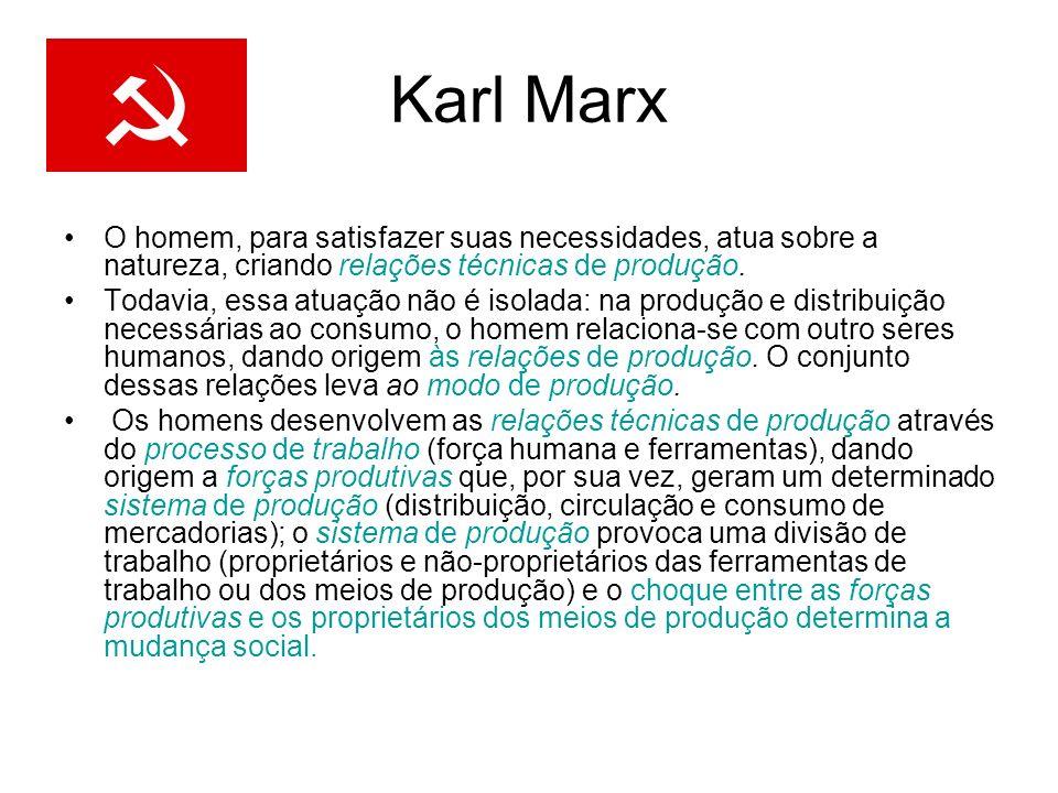 Karl Marx O homem, para satisfazer suas necessidades, atua sobre a natureza, criando relações técnicas de produção. Todavia, essa atuação não é isolad
