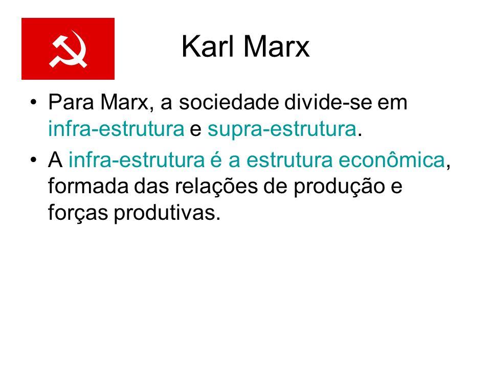 Karl Marx Para Marx, a sociedade divide-se em infra-estrutura e supra-estrutura. A infra-estrutura é a estrutura econômica, formada das relações de pr